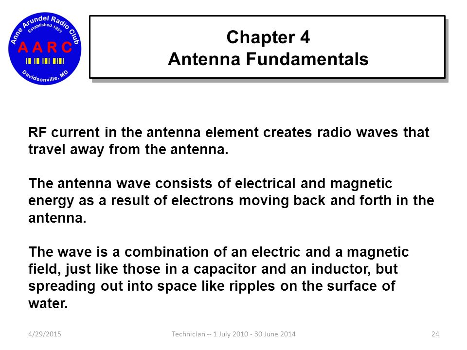 """Chapter 4 Antenna Fundamentals 4/29/201523Technician -- 1 July 2010 - 30 June 2014 An antenna with more than one element is called an """"array"""". The ele"""