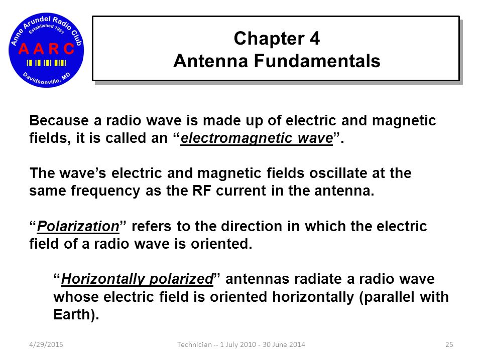 Chapter 4 Antenna Fundamentals 4/29/201524Technician -- 1 July 2010 - 30 June 2014 RF current in the antenna element creates radio waves that travel a