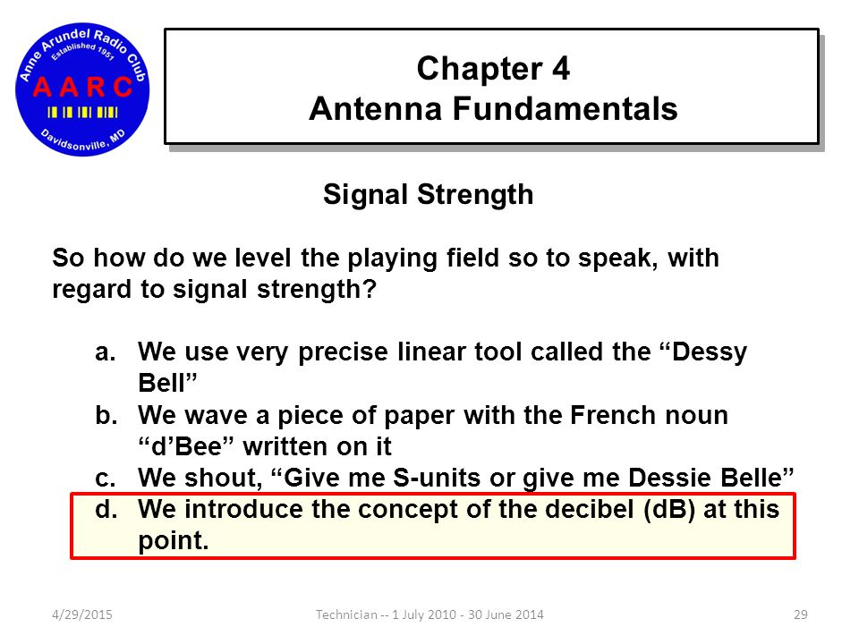 Chapter 4 Antenna Fundamentals 4/29/201528Technician -- 1 July 2010 - 30 June 2014 Signal Strength Antennas, propagation and electronic circuits chang