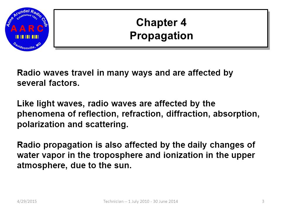 Chapter 4 Propagation Radio waves travel in many ways and are affected by several factors.