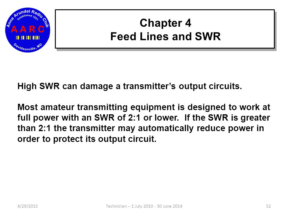 4/29/201552Technician -- 1 July 2010 - 30 June 2014 High SWR can damage a transmitter's output circuits.