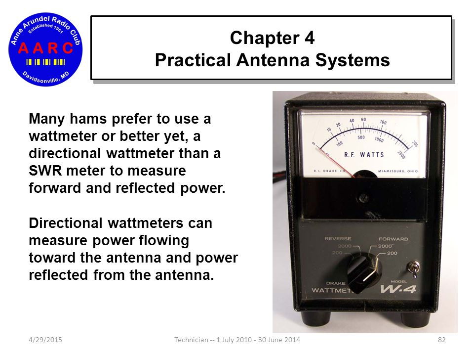 Chapter 4 Practical Antenna Systems 4/29/201582Technician -- 1 July 2010 - 30 June 2014 Many hams prefer to use a wattmeter or better yet, a directional wattmeter than a SWR meter to measure forward and reflected power.