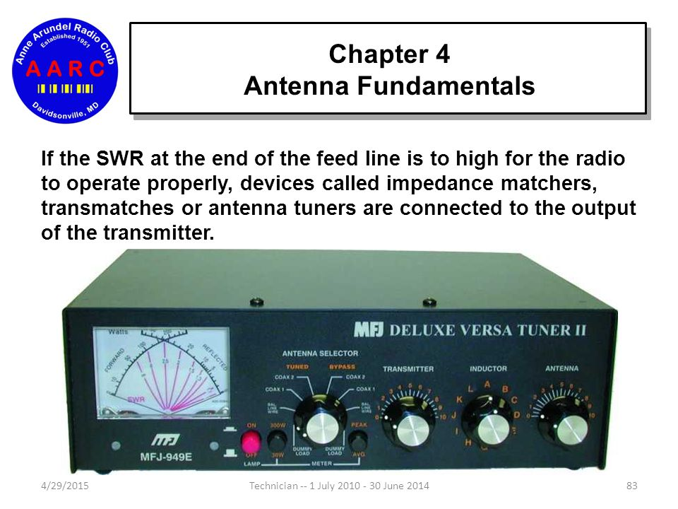 Chapter 4 Antenna Fundamentals 4/29/201583Technician -- 1 July 2010 - 30 June 2014 If the SWR at the end of the feed line is to high for the radio to operate properly, devices called impedance matchers, transmatches or antenna tuners are connected to the output of the transmitter.