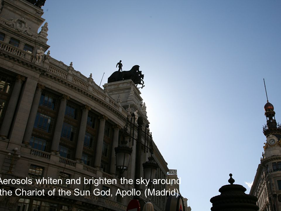 Aerosols whiten and brighten the sky around the Chariot of the Sun God, Apollo (Madrid)