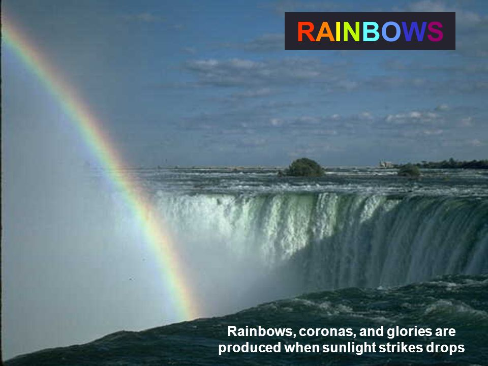 Rainbows, coronas, and glories are produced when sunlight strikes drops RAINBOWSRAINBOWS