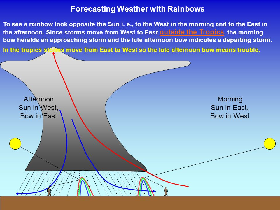 Forecasting Weather with Rainbows To see a rainbow look opposite the Sun i. e., to the West in the morning and to the East in the afternoon. Since sto