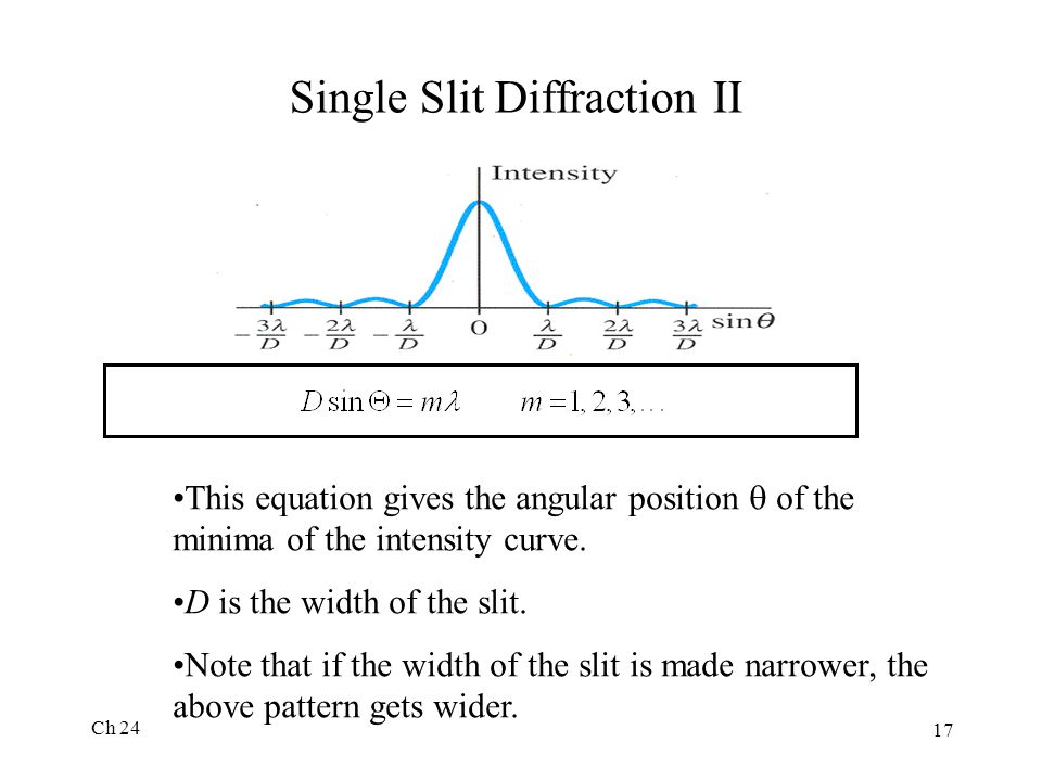Ch 24 17 Single Slit Diffraction II This equation gives the angular position  of the minima of the intensity curve. D is the width of the slit. Note