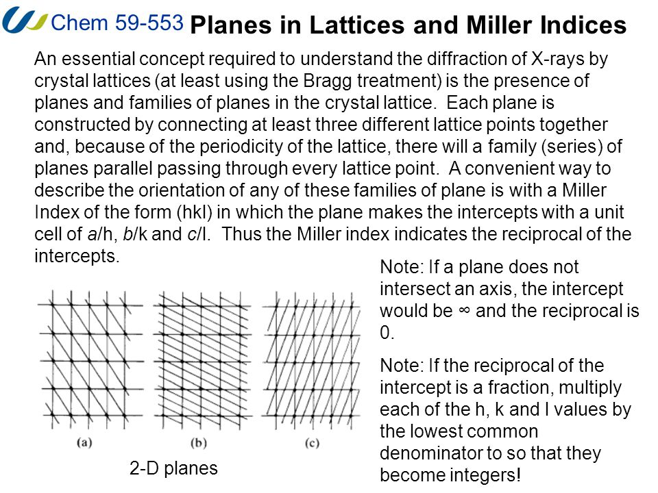 Chem 59-553 Planes in Lattices and Miller Indices An essential concept required to understand the diffraction of X-rays by crystal lattices (at least
