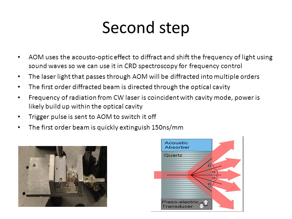 Second step AOM uses the acousto-optic effect to diffract and shift the frequency of light using sound waves so we can use it in CRD spectroscopy for frequency control The laser light that passes through AOM will be diffracted into multiple orders The first order diffracted beam is directed through the optical cavity Frequency of radiation from CW laser is coincident with cavity mode, power is likely build up within the optical cavity Trigger pulse is sent to AOM to switch it off The first order beam is quickly extinguish 150ns/mm