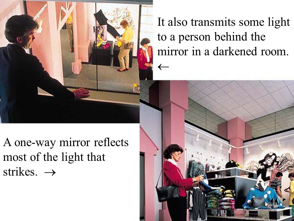 A one-way mirror reflects most of the light that strikes.  It also transmits some light to a person behind the mirror in a darkened room. 