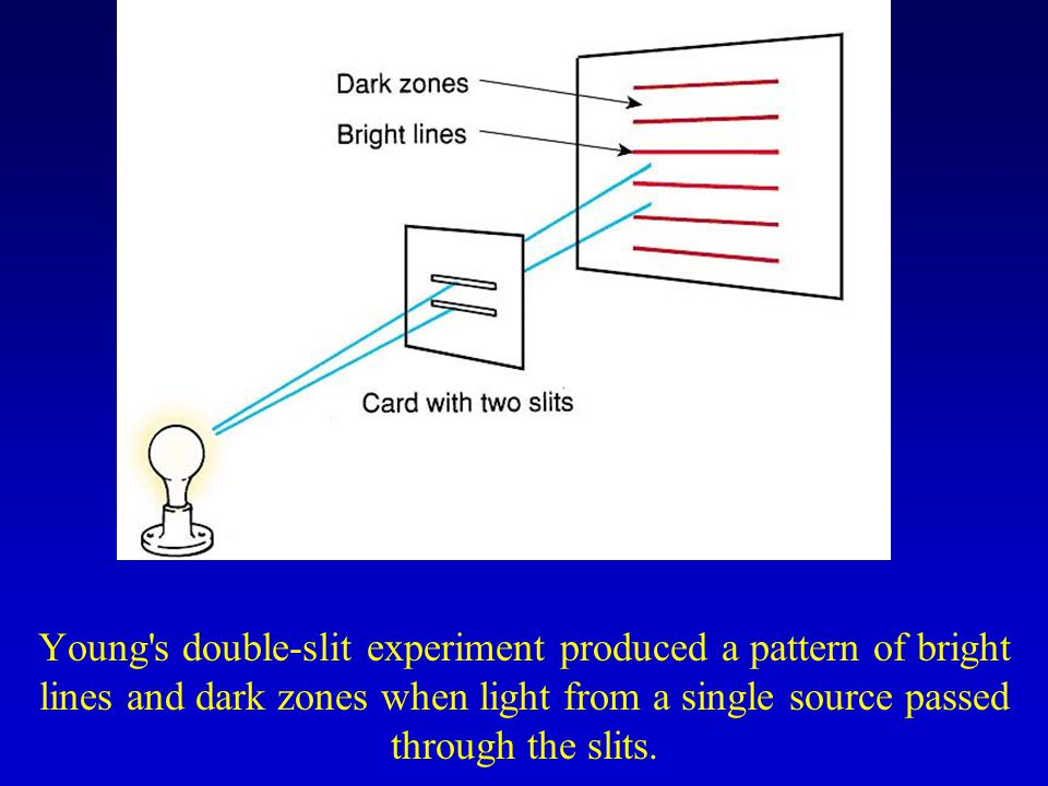 Young's double-slit experiment produced a pattern of bright lines and dark zones when light from a single source passed through the slits.