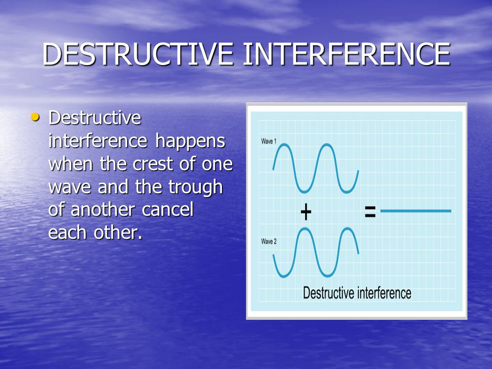DESTRUCTIVE INTERFERENCE Destructive interference happens when the crest of one wave and the trough of another cancel each other.