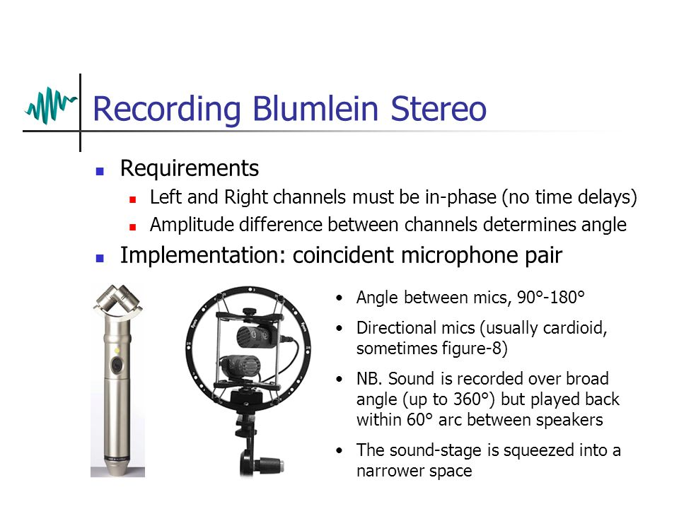 Recording Blumlein Stereo Requirements Left and Right channels must be in-phase (no time delays) Amplitude difference between channels determines angle Implementation: coincident microphone pair Angle between mics, 90°-180° Directional mics (usually cardioid, sometimes figure-8) NB.