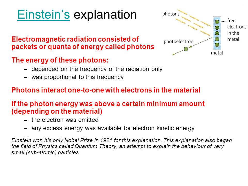 Einstein'sEinstein's explanation Electromagnetic radiation consisted of packets or quanta of energy called photons The energy of these photons: –depen