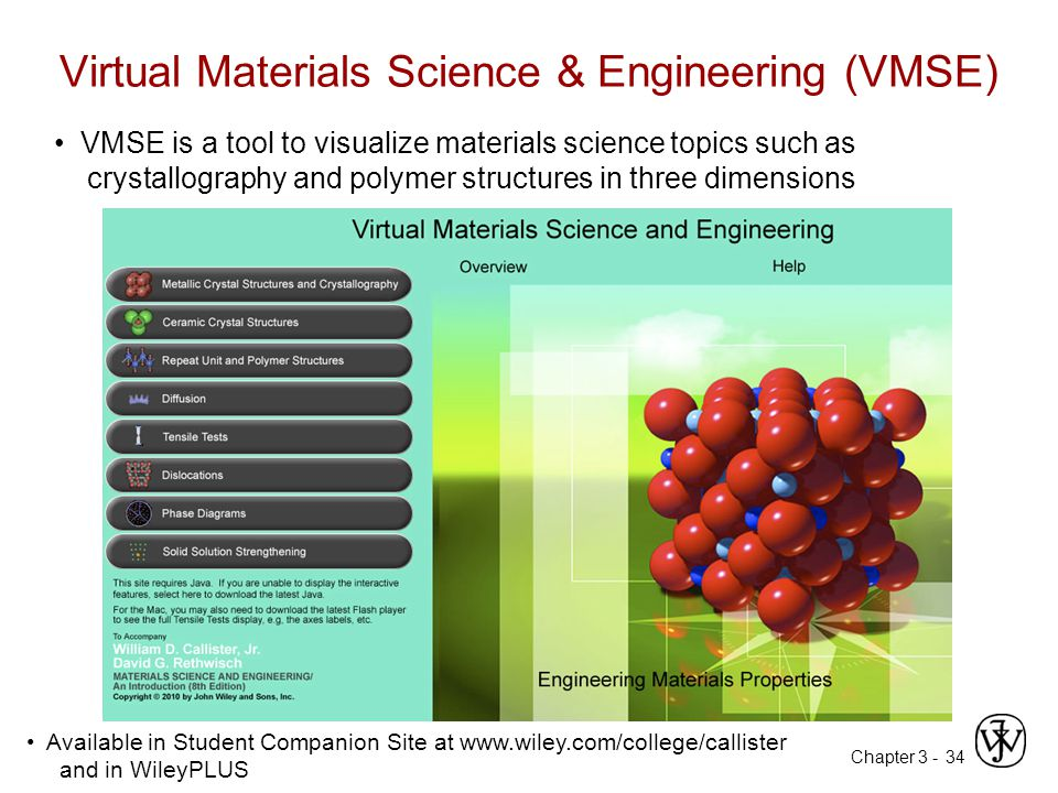 Chapter 3 - Virtual Materials Science & Engineering (VMSE) 34 VMSE is a tool to visualize materials science topics such as crystallography and polymer