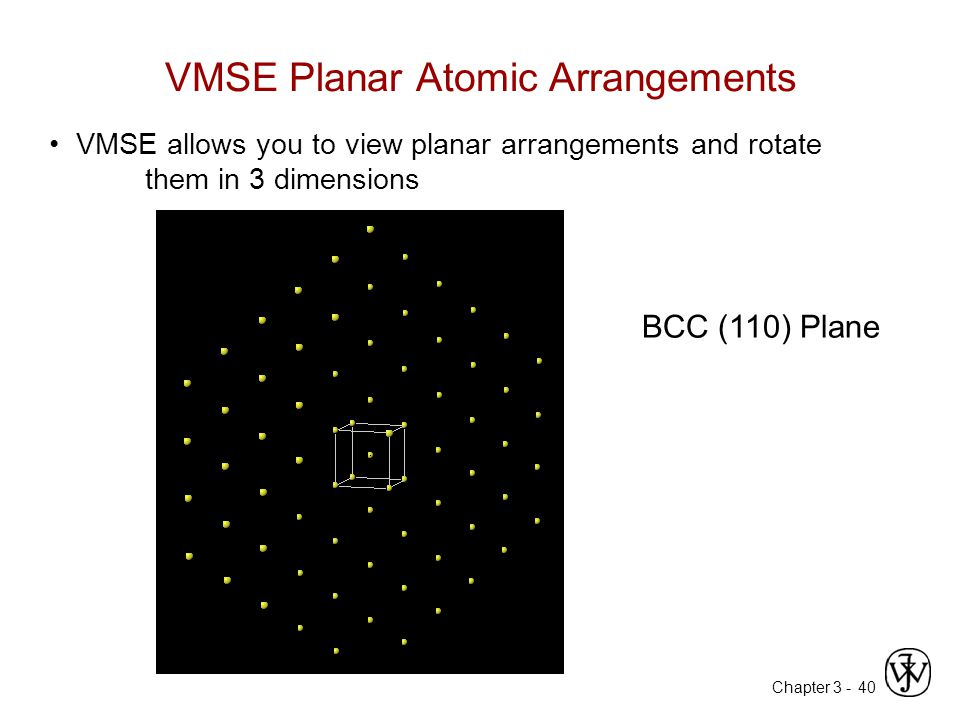 Chapter 3 - VMSE Planar Atomic Arrangements 40 VMSE allows you to view planar arrangements and rotate them in 3 dimensions BCC (110) Plane
