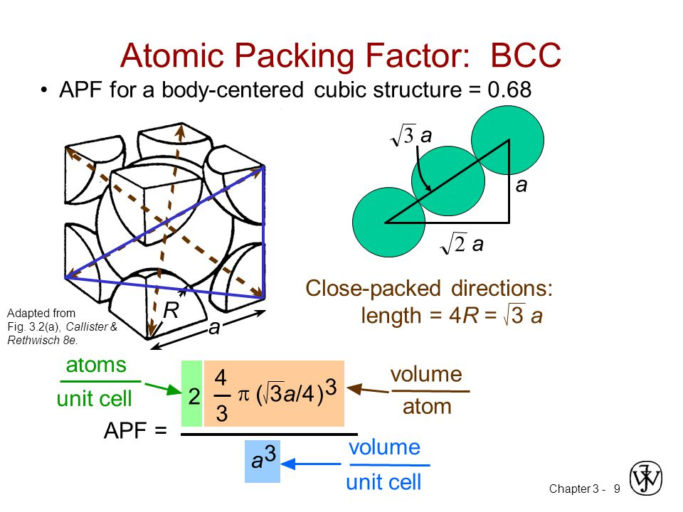 Chapter 3 -9 Atomic Packing Factor: BCC a APF = 4 3  (3a/4) 3 2 atoms unit cell atom volume a 3 unit cell volume length = 4R = Close-packed direction