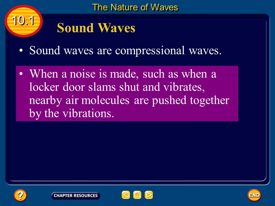 Compressional Waves As the wave moves, it looks as if the whole spring is moving toward one end. 10.1 The Nature of Waves The wave carries energy, but