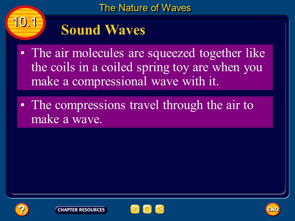 Sound Waves Sound waves are compressional waves. 10.1 The Nature of Waves When a noise is made, such as when a locker door slams shut and vibrates, ne