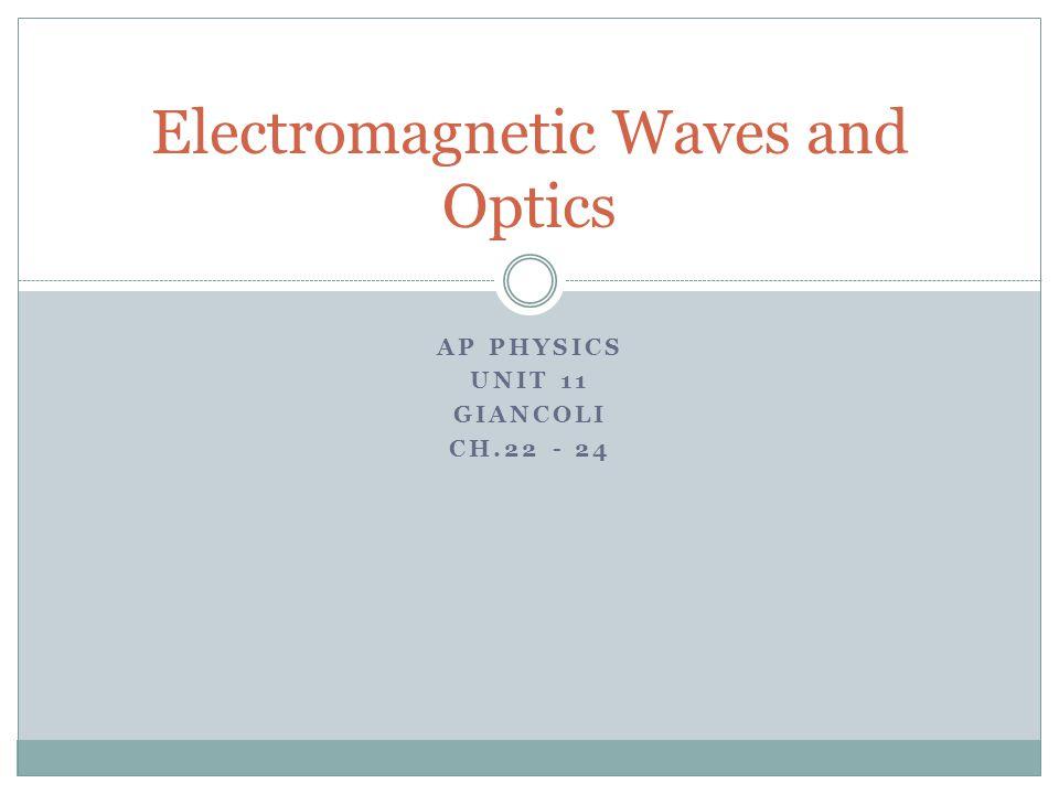 AP PHYSICS UNIT 11 GIANCOLI CH.22 - 24 Electromagnetic Waves and Optics