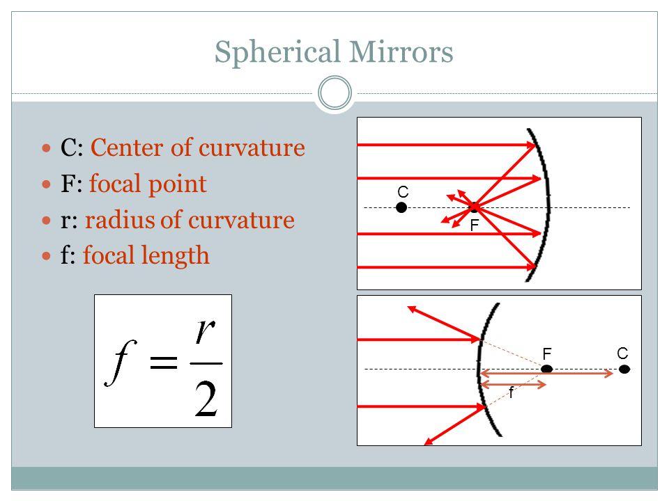 Spherical Mirrors C: Center of curvature F: focal point r: radius of curvature f: focal length C C F F f