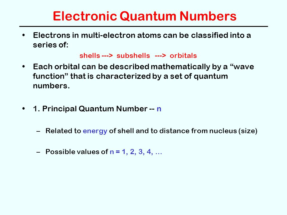Electronic Quantum Numbers Electrons in multi-electron atoms can be classified into a series of: shells ---> subshells ---> orbitals Each orbital can