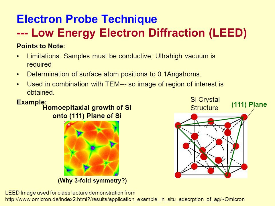 Electron Probe Technique --- Low Energy Electron Diffraction (LEED) Points to Note: Limitations: Samples must be conductive; Ultrahigh vacuum is required Determination of surface atom positions to 0.1Angstroms.
