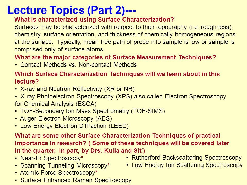 Lecture Topics (Part 2)--- What is characterized using Surface Characterization.