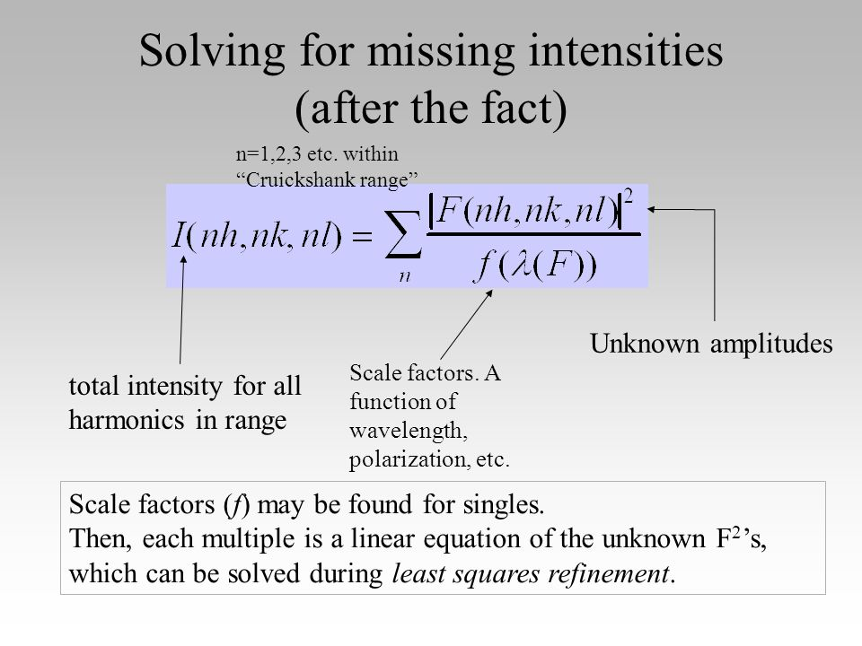 Solving for missing intensities (after the fact) total intensity for all harmonics in range Scale factors.
