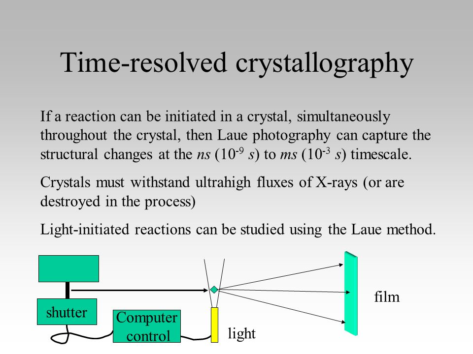 Time-resolved crystallography If a reaction can be initiated in a crystal, simultaneously throughout the crystal, then Laue photography can capture the structural changes at the ns (10 -9 s) to ms (10 -3 s) timescale.