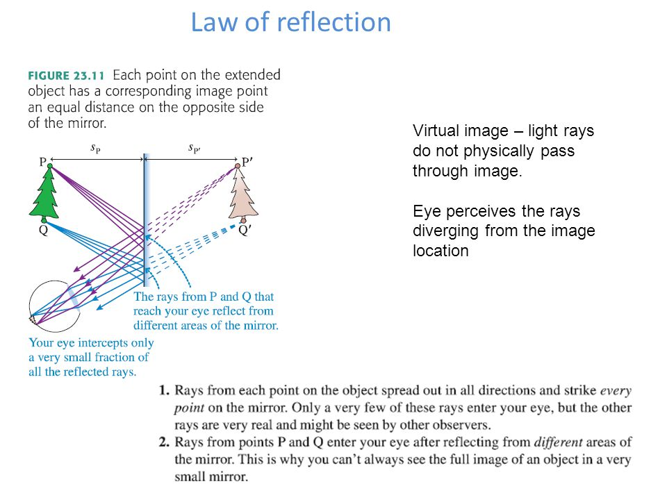 Virtual image – light rays do not physically pass through image. Eye perceives the rays diverging from the image location
