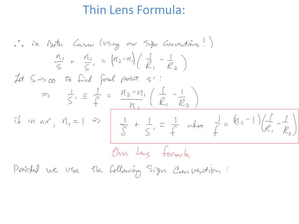 Thin Lens Formula: