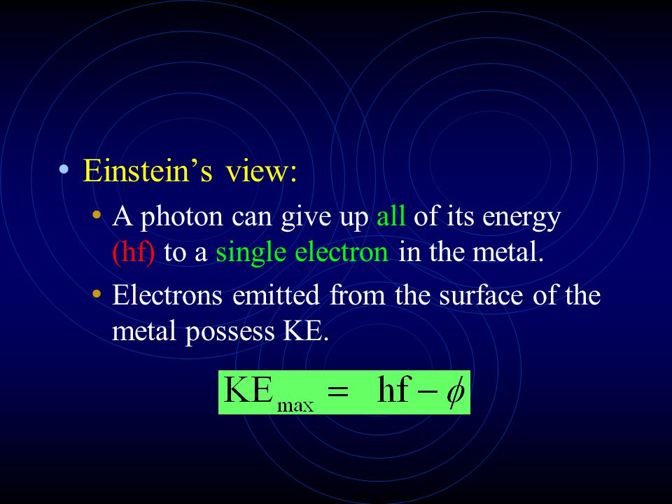 Einstein's view: A photon can give up all of its energy (hf) to a single electron in the metal.
