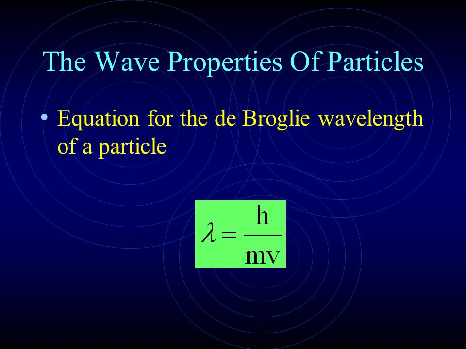 The Wave Properties Of Particles Equation for the de Broglie wavelength of a particle