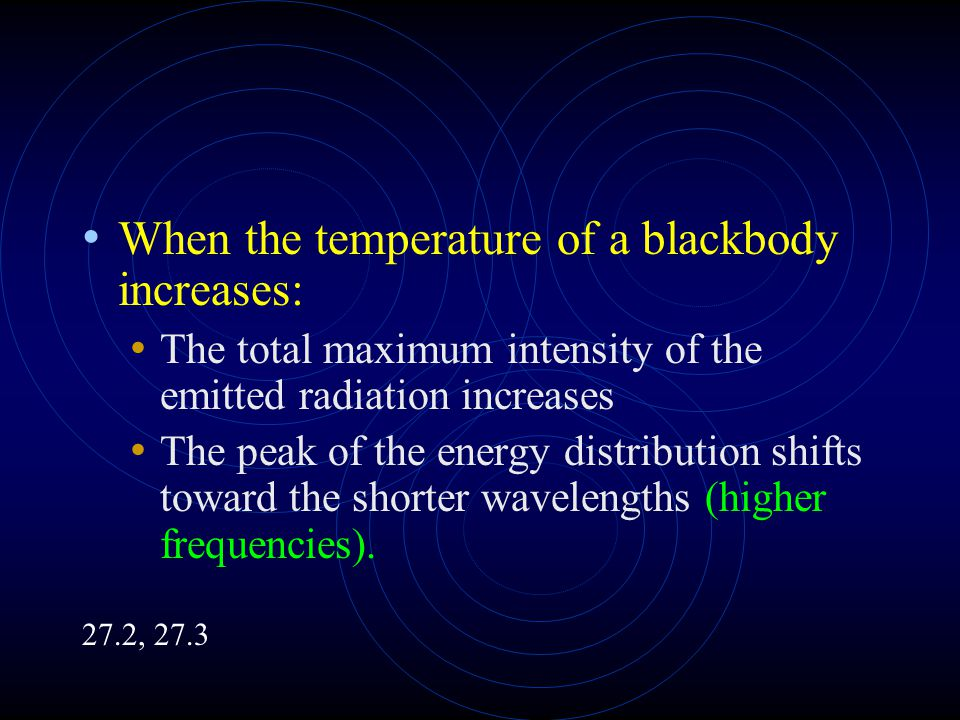 When the temperature of a blackbody increases: The total maximum intensity of the emitted radiation increases The peak of the energy distribution shifts toward the shorter wavelengths (higher frequencies).