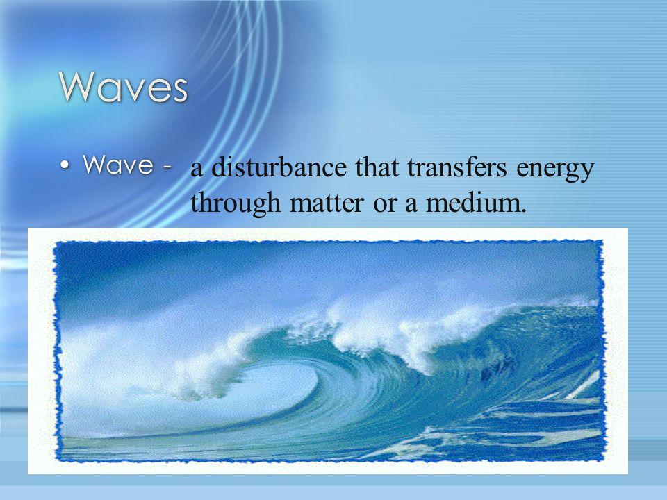 Waves Wave - a disturbance that transfers energy through matter or a medium.