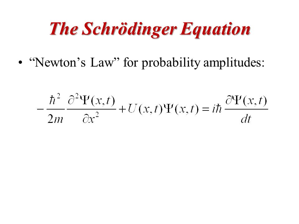 The Schrödinger Equation Newton's Law for probability amplitudes:
