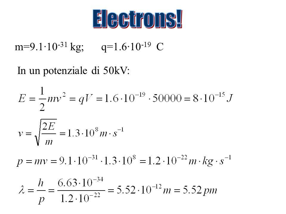 m=9.1·10 -31 kg; q=1.6·10 -19 C In un potenziale di 50kV: