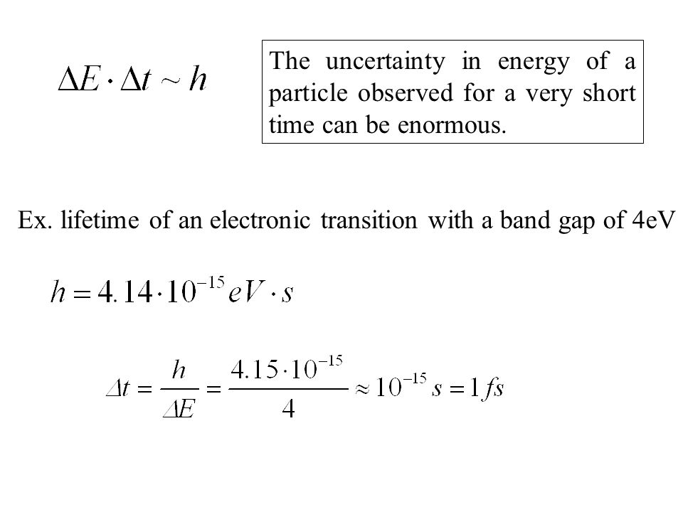 The uncertainty in energy of a particle observed for a very short time can be enormous. Ex. lifetime of an electronic transition with a band gap of 4e
