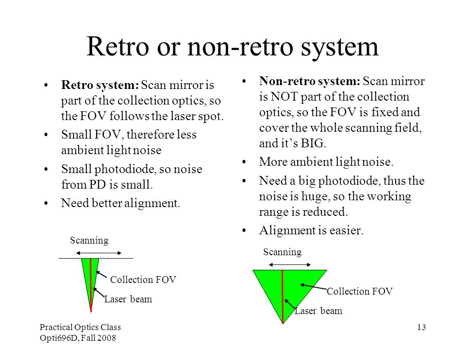Practical Optics Class Opti696D, Fall 2008 13 Retro or non-retro system Retro system: Scan mirror is part of the collection optics, so the FOV follows