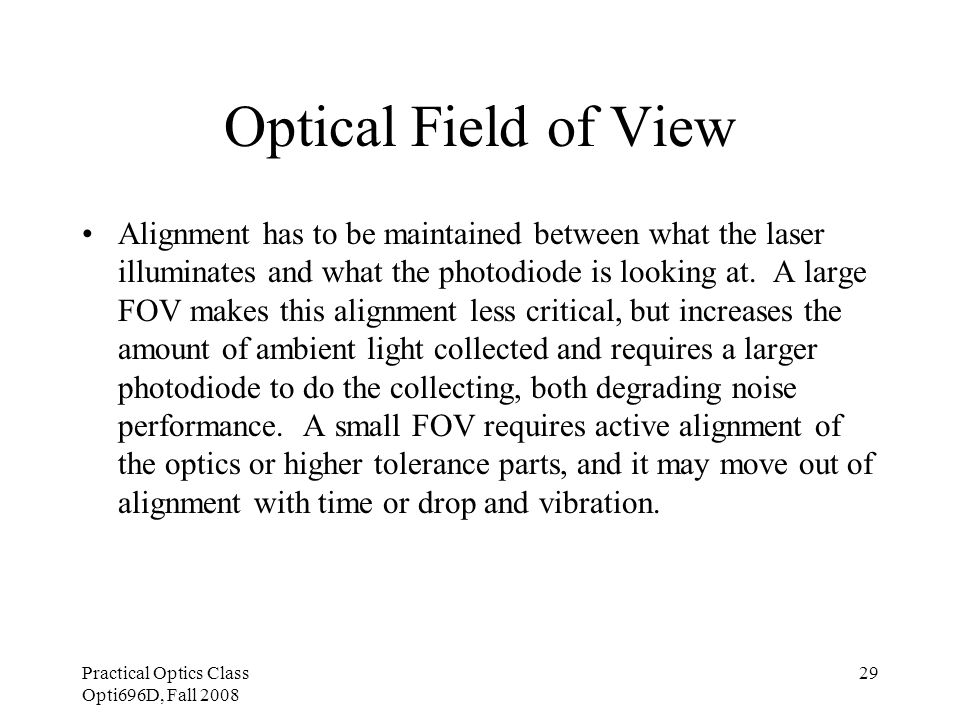 Practical Optics Class Opti696D, Fall 2008 29 Optical Field of View Alignment has to be maintained between what the laser illuminates and what the pho