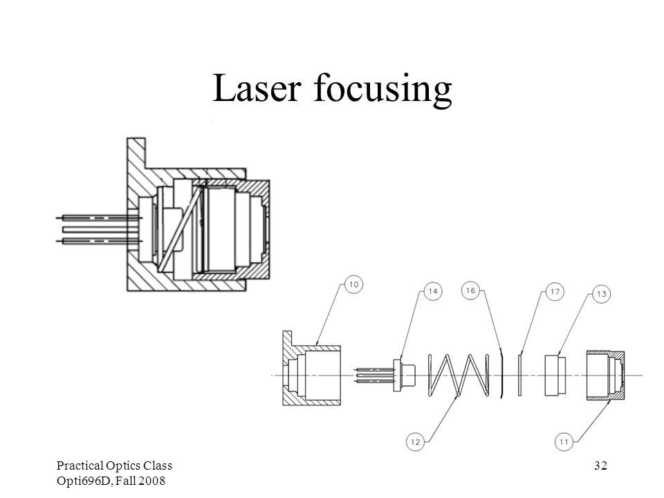 Practical Optics Class Opti696D, Fall 2008 32 Laser focusing