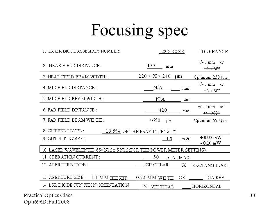 Practical Optics Class Opti696D, Fall 2008 33 Focusing spec