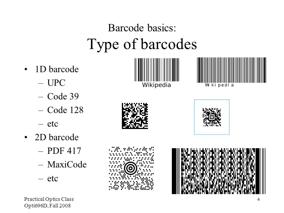 Practical Optics Class Opti696D, Fall 2008 5 Barcode basics: Benefit of using barcodes For retailers –Quickly identifying fast and slow selling items to help stocking decisions –Repositioning a given product within a store to move more profitable items to occupy the best space, –Historical data can be used to predict seasonal fluctuations very accurately.