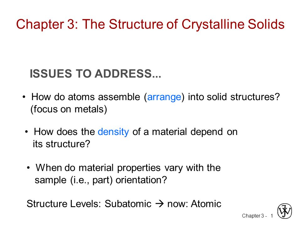 Chapter 3 -1 ISSUES TO ADDRESS...How do atoms assemble (arrange) into solid structures.