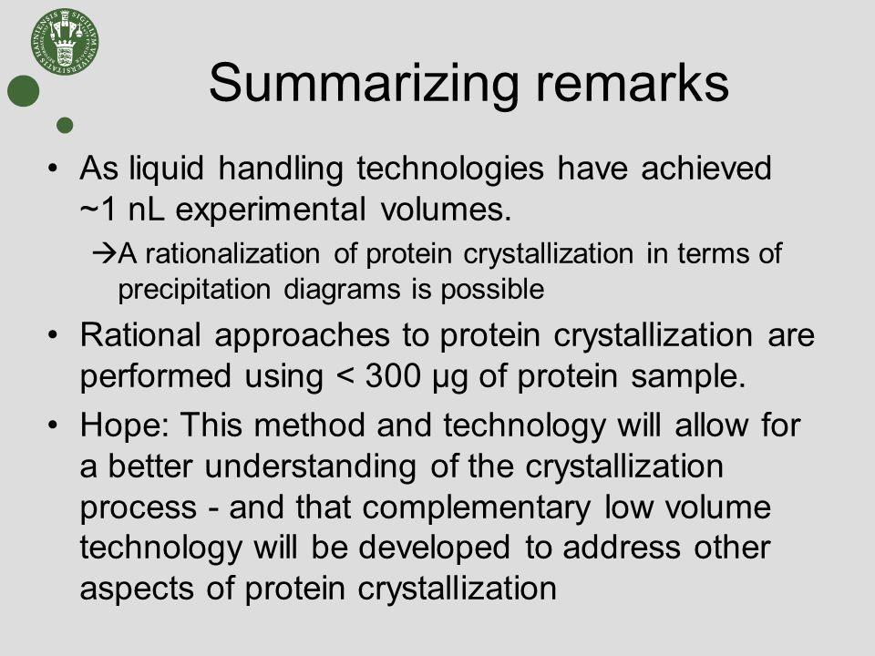 Summarizing remarks As liquid handling technologies have achieved ~1 nL experimental volumes.