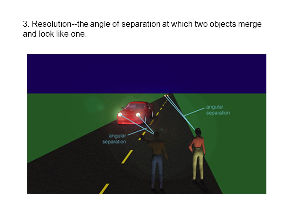 3. Resolution--the angle of separation at which two objects merge and look like one.