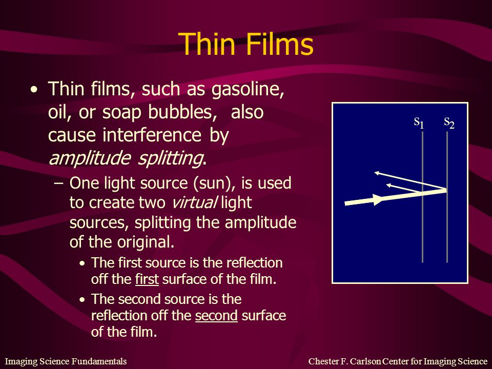 Imaging Science Fundamentals Chester F. Carlson Center for Imaging Science Thin Films Thin films, such as gasoline, oil, or soap bubbles, also cause i