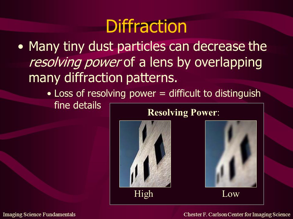 Imaging Science Fundamentals Chester F. Carlson Center for Imaging Science Diffraction Many tiny dust particles can decrease the resolving power of a