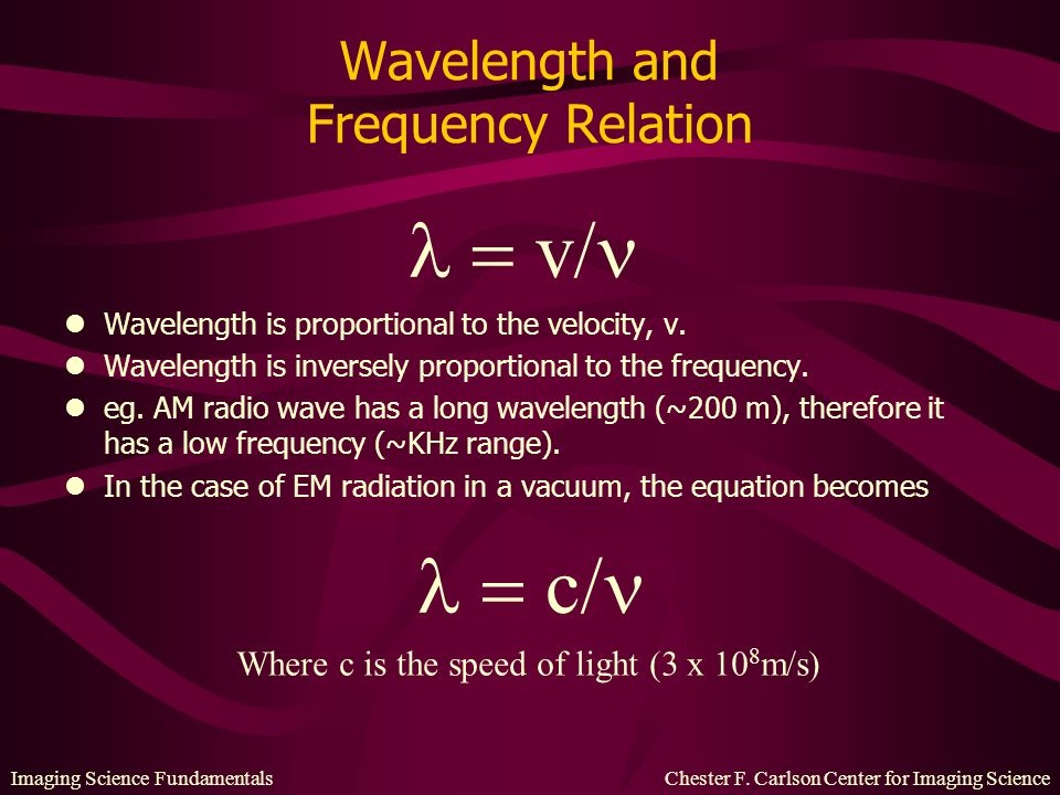 Imaging Science Fundamentals Chester F. Carlson Center for Imaging Science Wavelength and Frequency Relation lWavelength is proportional to the veloci